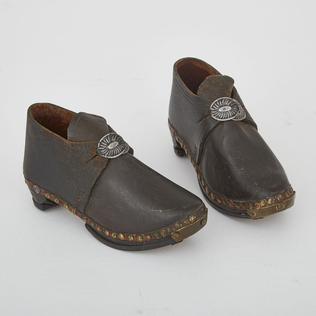 Lot 508 Pair Of Miniature North English Leather Clogs