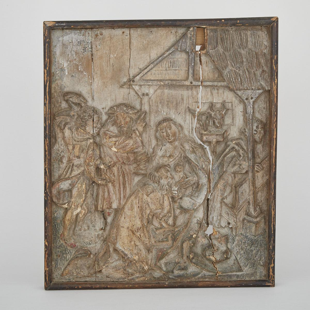 Lot german carved relief panel of the nativity th
